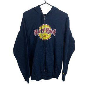 Hard Rock Cafe Vintage Hoodie Mens Size M Navy Blue Full-Zip Jacket